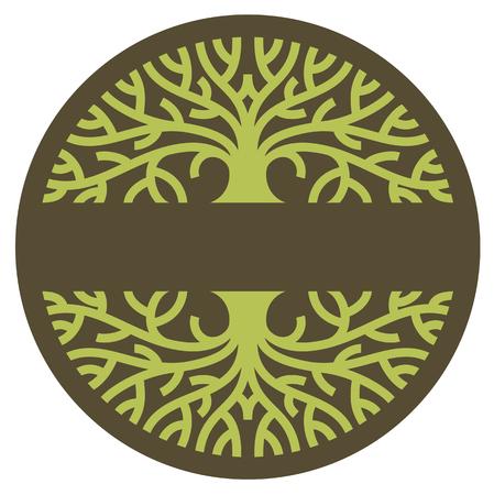 ツリーのロゴ。広がった枝の成熟した木の様式化された図。