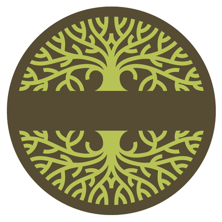 Tree logo. Stylized graphic illustration of mature tree with spreading branches.