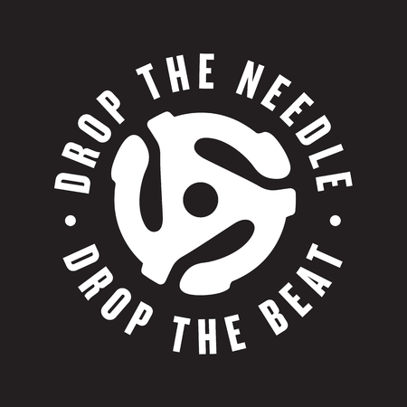 Drop the needle, drop the beat vinyl record logo Vector DJ turntable design featuring record insert spindle adaptor.
