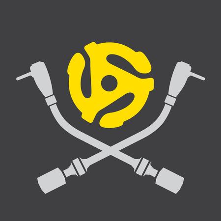Vinyl record DJ vector logo Vector disc jockey skull and cross bones design featuring turntable tonearms. Drop the needle. Illustration