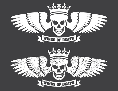 Winged Skull Vector Design Vector illustration of human skull wearing a crown with large spread wings. Includes both clean and distressed, grunge versions. Illustration