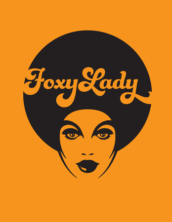 Foxy Lady Retro Illustration. Vector design of funky soul woman with afro on orange background. 矢量图像