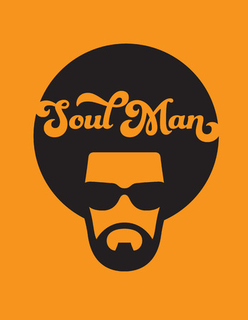 Soul Man Retro Illustration. Vector design of funky soul man with afro on orange background.