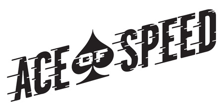 Ace of Speed Retro Vector Design. Vector illustration of vintage hot rod, motorcycle, car graphic with custom speed line typography.