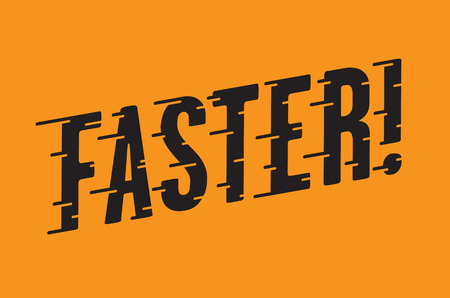 Faster Retro Typography with Speed Lines. Vintage style vector hot rod, motorcycle, car design with custom speed line typography. Illustration