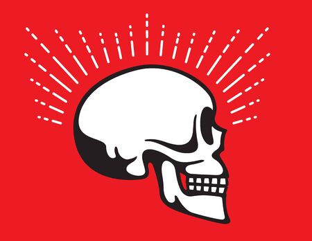 Skull Side View with Glow Line graphic effect Vintage style vector illustration of skull in profile view.
