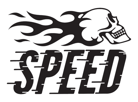 Speed Retro Vector Design with speed lines and flaming skull Vector illustration of vintage hot rod, motorcycle, car graphic with custom speed line typography and side view of skull and flames.
