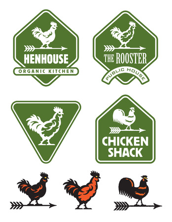 Chicken, hen or rooster logos and badges. Set of seven rustic vector illustrations and emblems featuring assorted chicken and weather vane designs