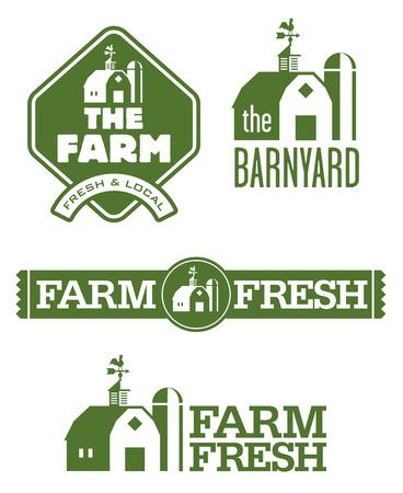 Farm and Barn Logos. Set of four farm and barn logo designs for farm fresh local food.