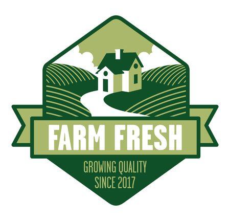 Farm Fresh Logo. Farmhouse logo or badge with fields of crops and banner. Иллюстрация