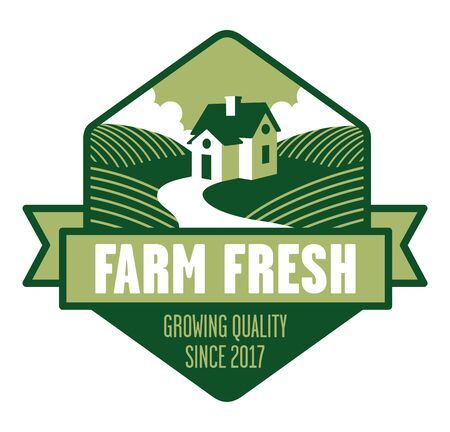 Farm Fresh Logo. Farmhouse logo or badge with fields of crops and banner. Illustration