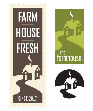 Set of three farmhouse vector logos or badges with winding road leading to house.