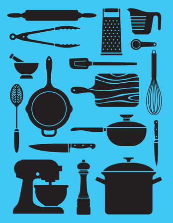 Set van 17 keukengerei illustraties. Collage of patroon van vereenvoudigde silhouet vectorontwerpen die een verscheidenheid van keuken of chef-kokhulpmiddelen tonen. Stockfoto - 89466563