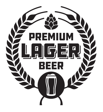Lager Beer Badge or Label. Craft beer vector design features wheat or barley wreath, hops and glass of beer. Фото со стока - 89941122