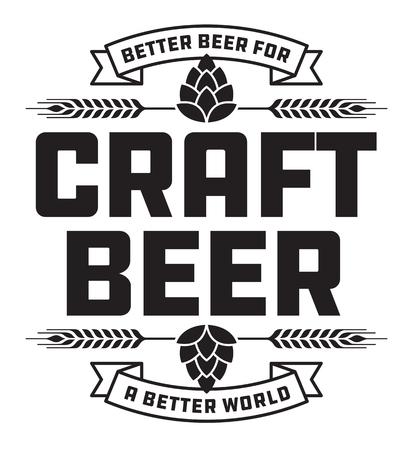 Distintivo o etichetta di birra artigianale. Il design del vettore di birra artigianale presenta una corona di grano o d'orzo e lo slogan, Better Beer for a Better World.