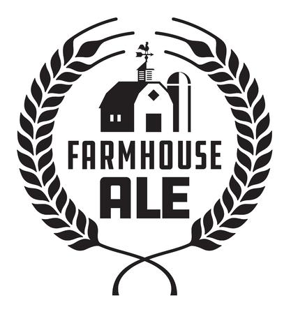 Farmhouse Ale Badge o etiqueta. El diseño del vector de la cerveza del arte ofrece la guirnalda del trigo o de la cebada con el granero, el silo y la paleta de tiempo.