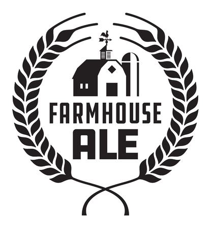 Farmhouse Ale Badge or Label. Craft beer vector design features wheat or barley wreath with barn, silo and weather vane.