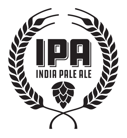 features: IPA or India Pale Ale Badge or Label. Craft beer vector design features wheat or barley wreath and hops.