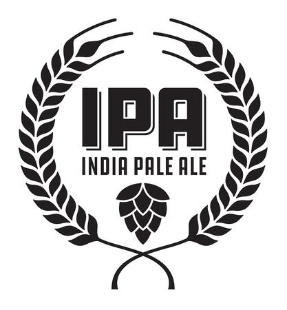 IPA ou insigne ou étiquette India Pale Ale. Bière artisanale de dessin vectoriel caractéristiques guirlande et houblon de blé ou d'orge.