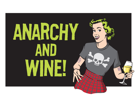 Anarchy and Wine Punk Rock Housewife Vector Design.