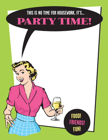Party Time Retro Housewife Party Invitation. Иллюстрация