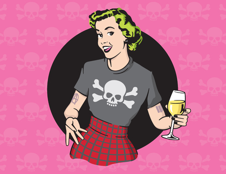 Retro Style Punk Rock Housewife Vector Design. 矢量图像