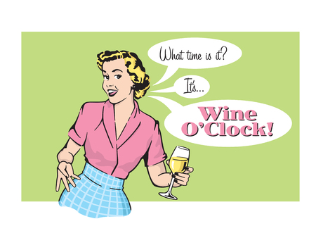 Vector illustration of sassy retro woman with wine glass Vettoriali