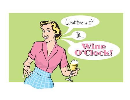 Vector illustration of sassy retro woman with wine glass Stock Illustratie