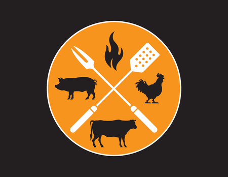 Circular Barbecue or Grilling emblem. Vector Barbecue design features cow, pig, chicken, and flame silhouette illustrations with crossed fork and spatula.