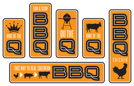 Set of six Barbecue emblems. Vector Barbecue designs featuring cow, pig, chicken, grill, and crown illustrations.