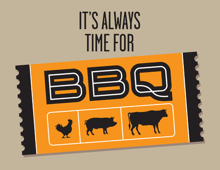 Barbecue Ticket vector design with cow, pig and chicken. Vector graphic featuring ticket shaped barbecue graphic and the phrase It's Always Time For BBQ.