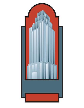 Skyscraper building vector illustration. Retro art deco style architectural building design. Ilustração
