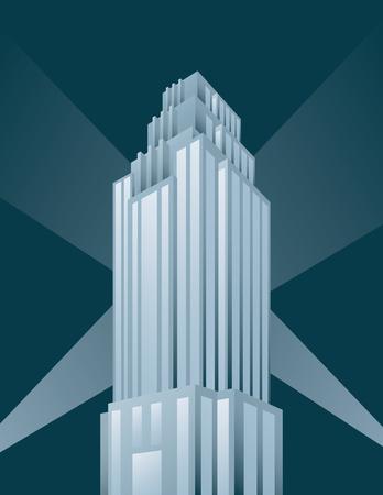Skyscraper building vector illustration. Retro art deco style architectural building design with spotlights. Фото со стока - 91792859