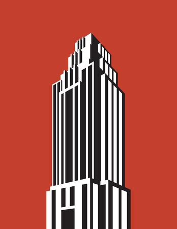 Skyscraper building vector illustration. Retro art deco style architectural building black and white design. Vectores