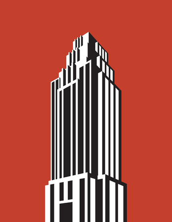 Skyscraper building vector illustration. Retro art deco style architectural building black and white design. Çizim