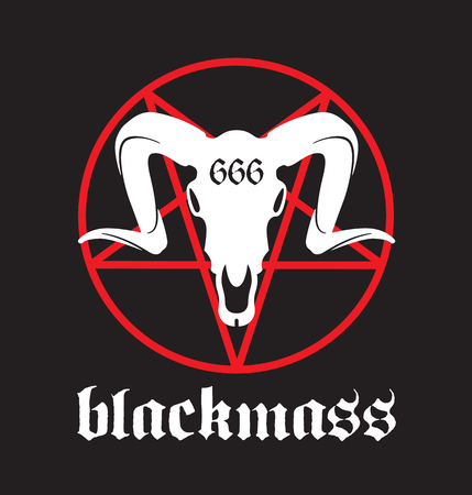 Black Mass design featuring pentagram and goat skull with 666 marking.