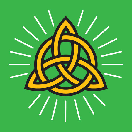 Celtic Infinity Knot Design Illustration on green background. Ilustração