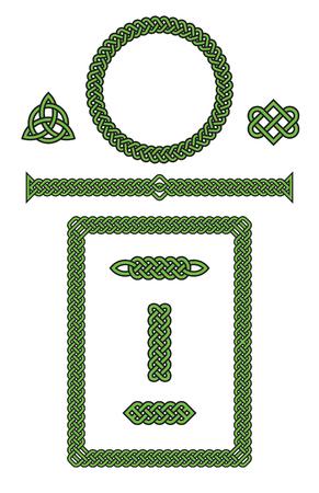 Set of Celtic Knot Design Elements Illustration.