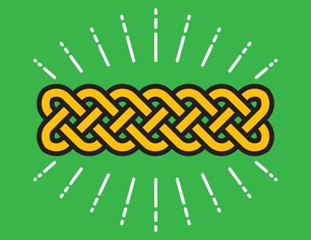 Celtic Infinity Knot Vector Design. Classic knot design symbolizing eternity and symmetry with radiating lines around it.