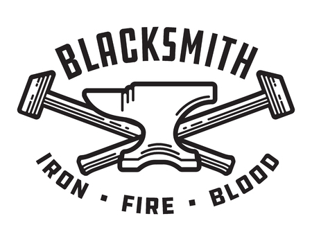 Blacksmith vector emblem or badge. Retro style blacksmith design with forging tools including hammers and anvil. Фото со стока - 92653177
