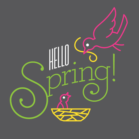 Fun custom typography.Hello Spring Vector Design with cute bird drawings. Contemporary flat vector mono line drawing shows mother bird feeding her baby in nest. Fun custom typography.