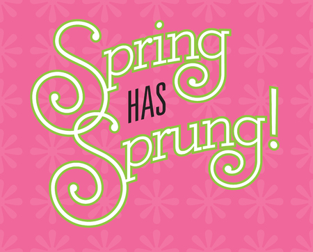Spring Has Sprung vector design on flower background. Fun custom drawn text with fancy swash letters and bold outline on pink background with flower pattern. Иллюстрация