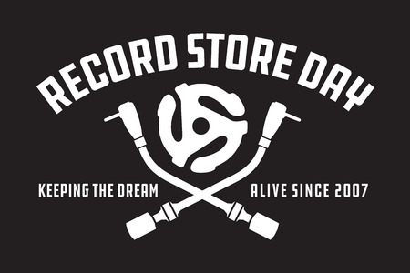 Record Store Day Badge or Emblem Vector Design. Black and white design featuring crossed turntable tone arms and vinyl record spindle adaptor insert, with the words Record Store Day, keeping the dream alive since 2007.