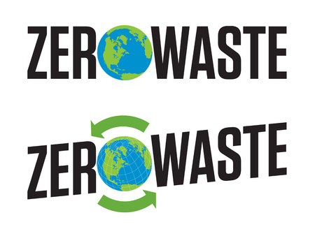 Zero Waste Badge or Emblem Vector Design. Set of two Zero Waste graphic design elements with rotating life cycle or recycle arrows symbol and planet earth icon. Иллюстрация