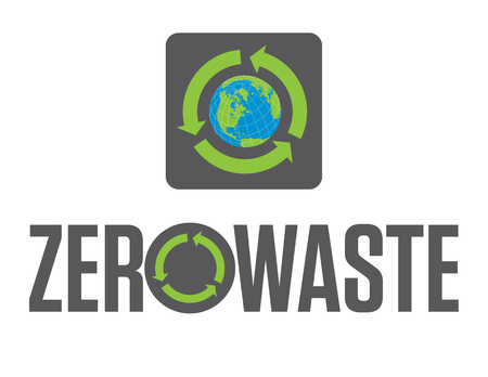 Zero Waste Badge or Emblem Vector Design. Set of two Zero Waste graphic design elements with rotating life cycle or recycle arrows symbol and planet earth icon. Illustration