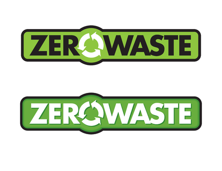Zero Waste Badge or Emblem Vector Design. Set of two Zero Waste graphic design elements with rotating life cycle or recycle arrows symbol.