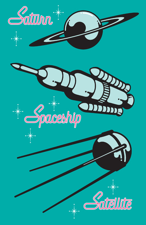 Retro Style Space Race Graphic Design Elements. Set of three vector illustrations of iconic space exploration elements including the planet saturn, a satellite and a space rocket.