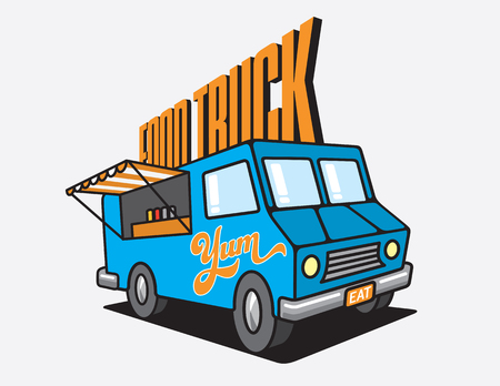 Food Truck Cartoon Vector Illustration. Design for Food Truck Festival poster or advertising with vector illustration of food truck with open window and the word yum painted on the side. Фото со стока - 96518662