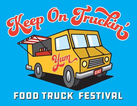 Food Truck Cartoon Vector Illustration. Design for Food Truck Festival poster or advertising with vector illustration of food truck with open window and the word yum painted on the side. Иллюстрация