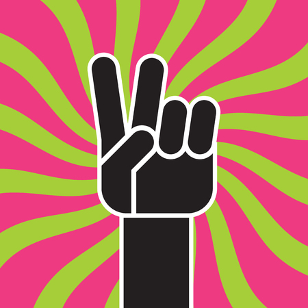 Peace Sign Hand Gesture flat vector drawing. Illustration of stylized hand making the classic two finger peace sign hand gesture against colorful funky radial background.